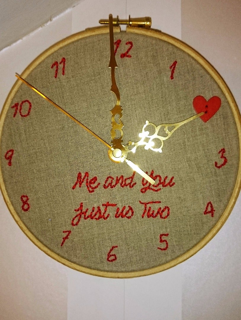 Valentine's Embroidery Hoop Clock