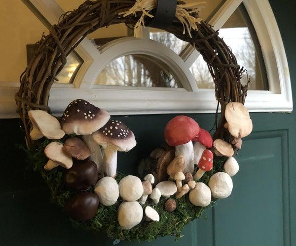 Animal Crossing Inspired Mushroom Wreath