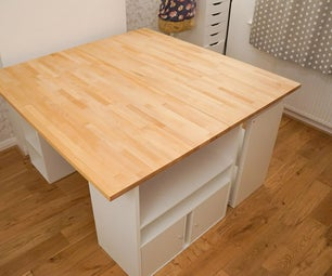 DIY Huge Sewing Table for a Craft Room | Custom Storage Shelving Unit