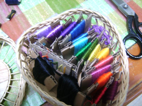 Embroidery Floss Organizer With a Piece of Carton