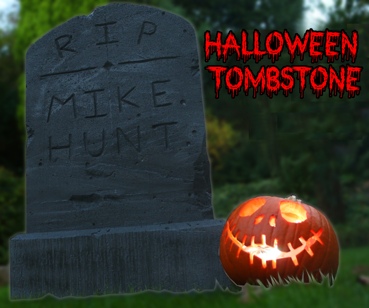 How to Make a Halloween Tombstone From Breeze Blocks