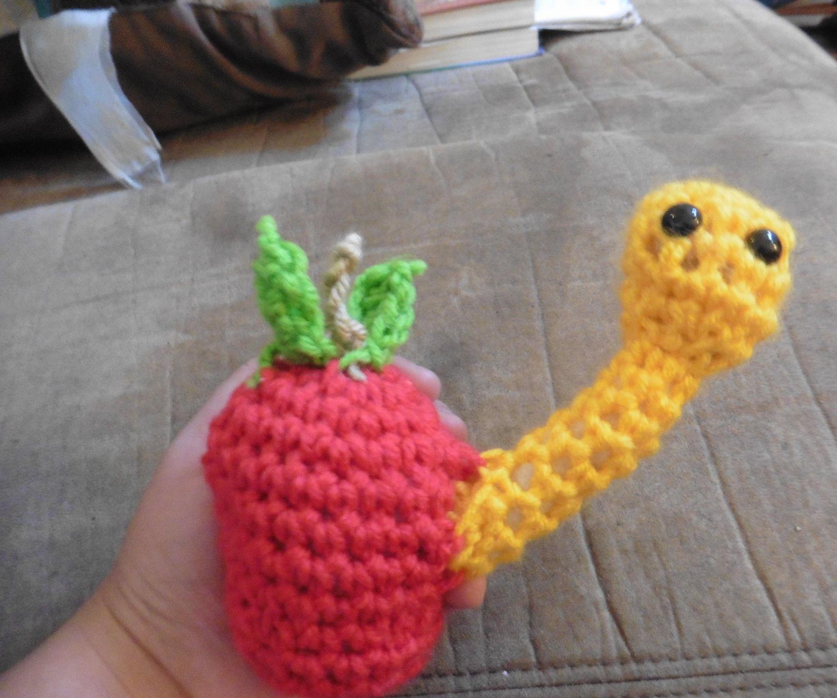 Crochet Worm in an Apple