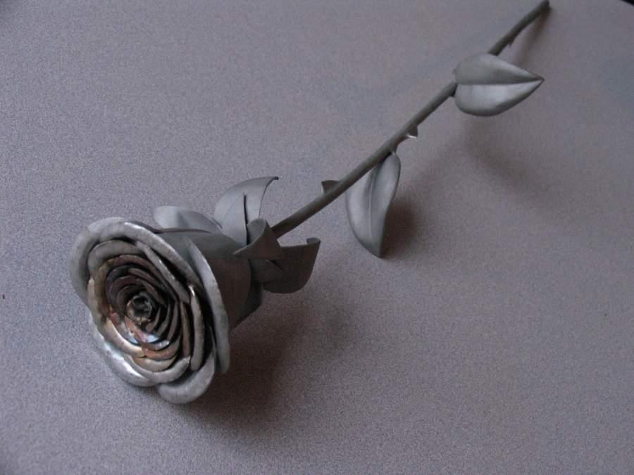 Stainless Steel Rose from Scrap Metal