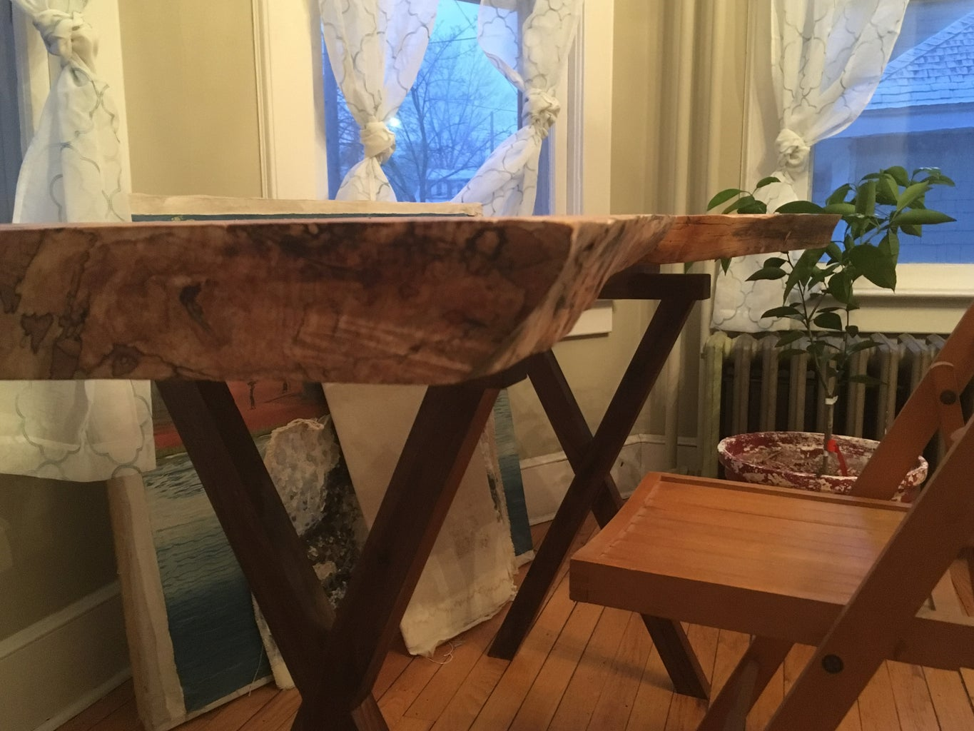 Live Edge Spalted Maple and Black Walnut Modern Office Desk