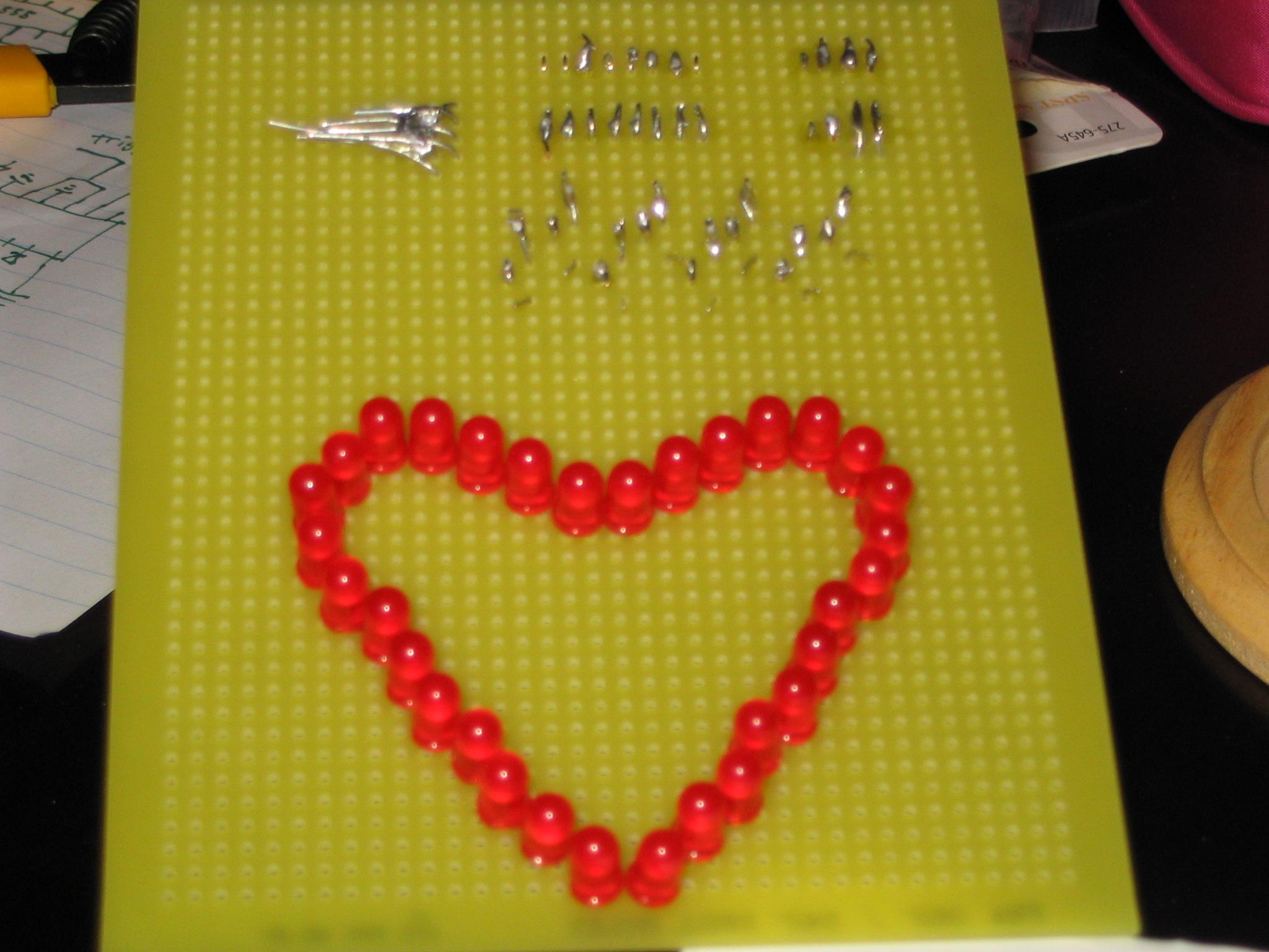 Build a binary LED heart decoration (Blinkenheart)