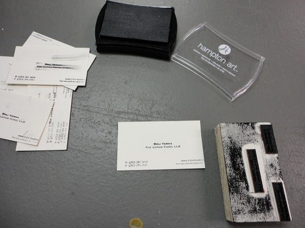 Made It at Techshop-Rubber Stamping Pad for Business Cards