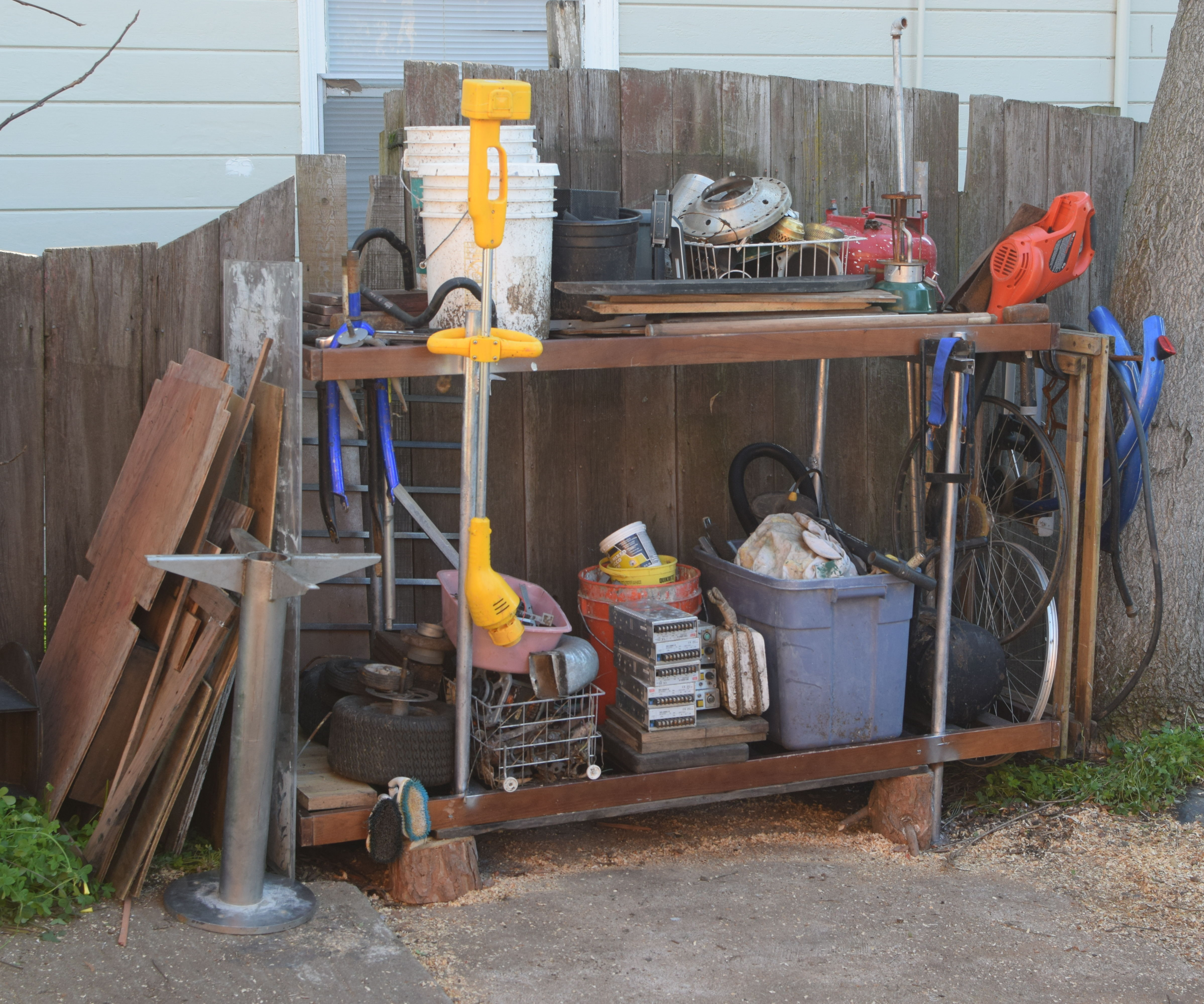 recycled futon frame outdoor shelving