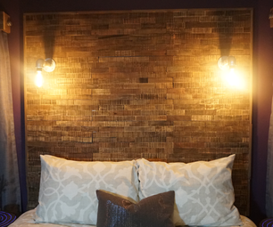 Rustic Industrial Pallet Headboard With Pipe Lights