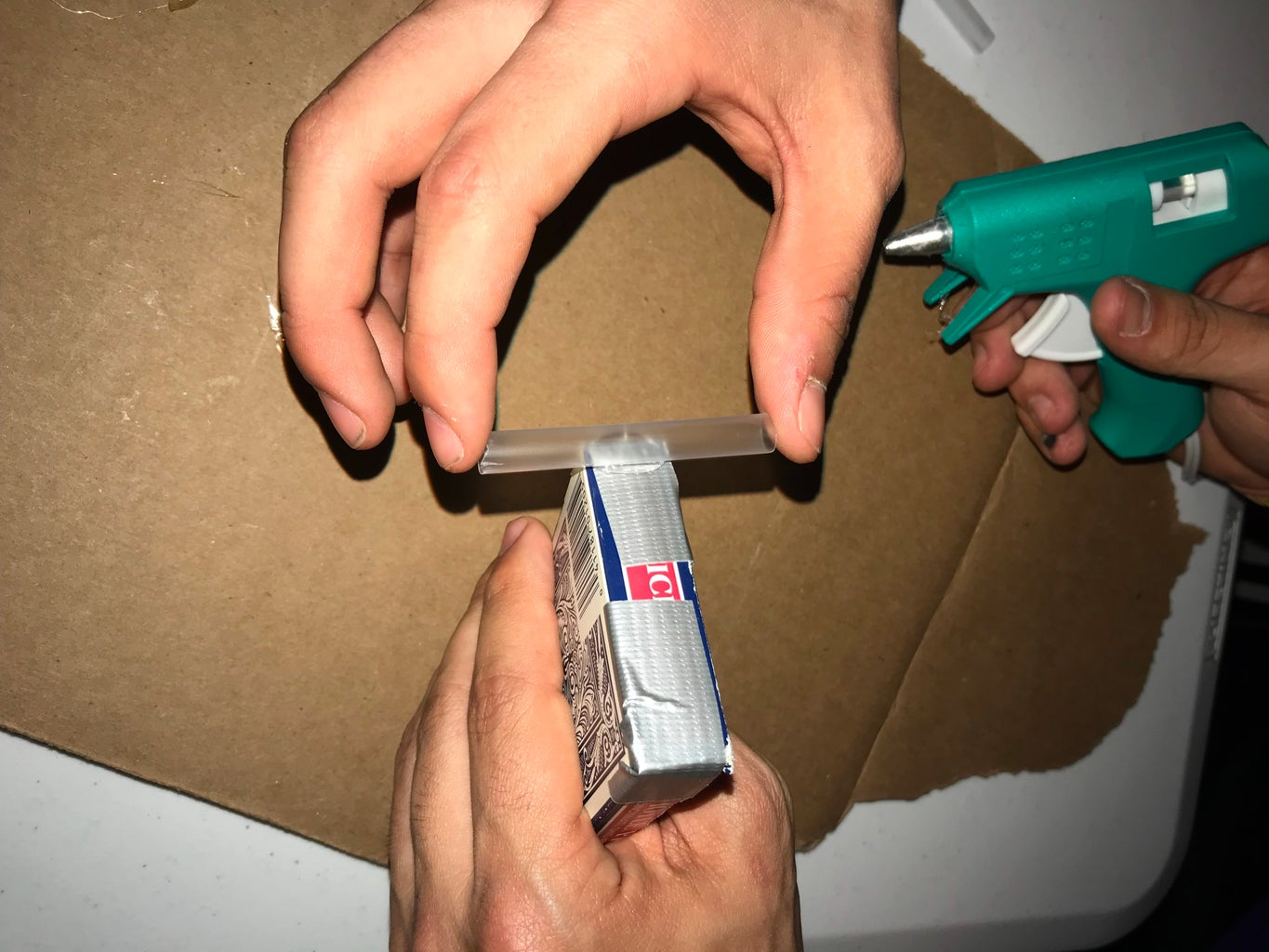 Hot Gluing Straw to Card Box