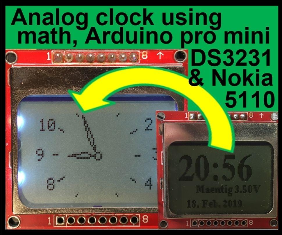 Analog Clock Using Math, Arduino Pro Mini, DS3231 and Nokia 5110