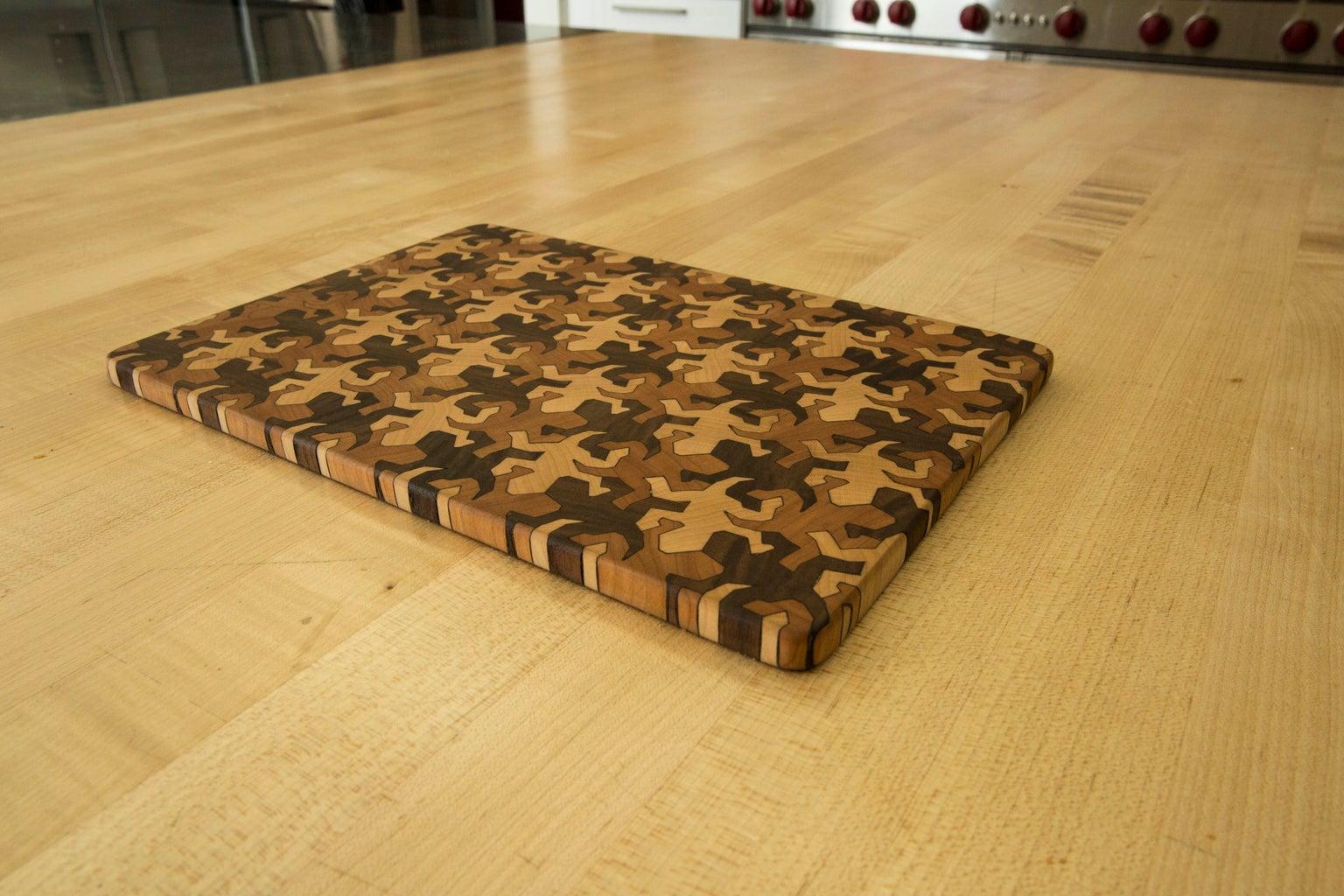 End Grain Cutting Board Using MC Escher Tessellations
