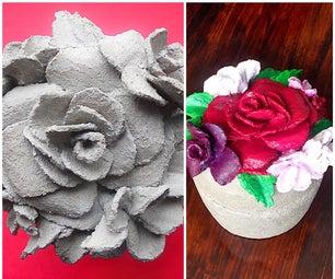 混凝土珠宝盒,带凸起的花