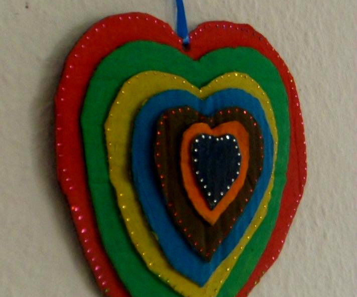 Cardboard stacked wall hanging