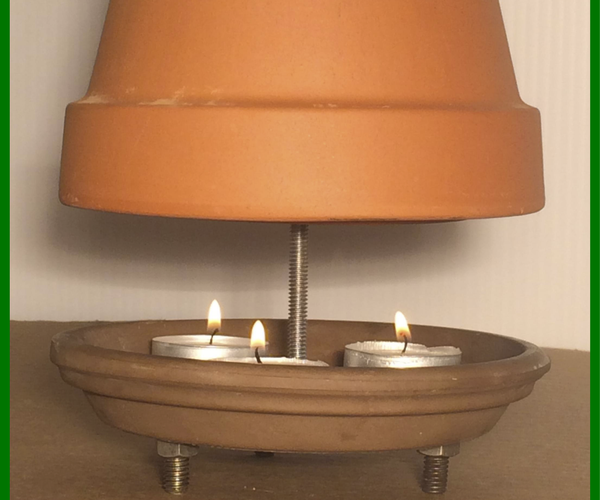 """Tea Candle and Ceramic Flower Pot """"heater"""""""