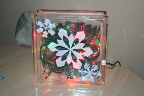 Glass Block Christmas Decoration