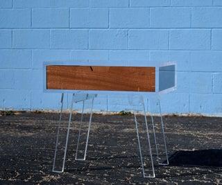 Acrylic Side Table W/ Floating Mahogany Drawer