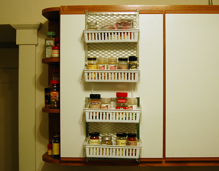 """$7 """"Wall-Mounted"""" (no-drill) Spice Rack"""