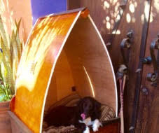 Doghouse 2 Story Polynesian Style With Removable Roof for Summer .