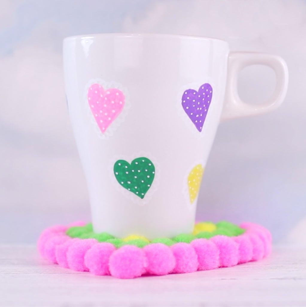 DIY Pom Pom Heart Coaster and a Mug