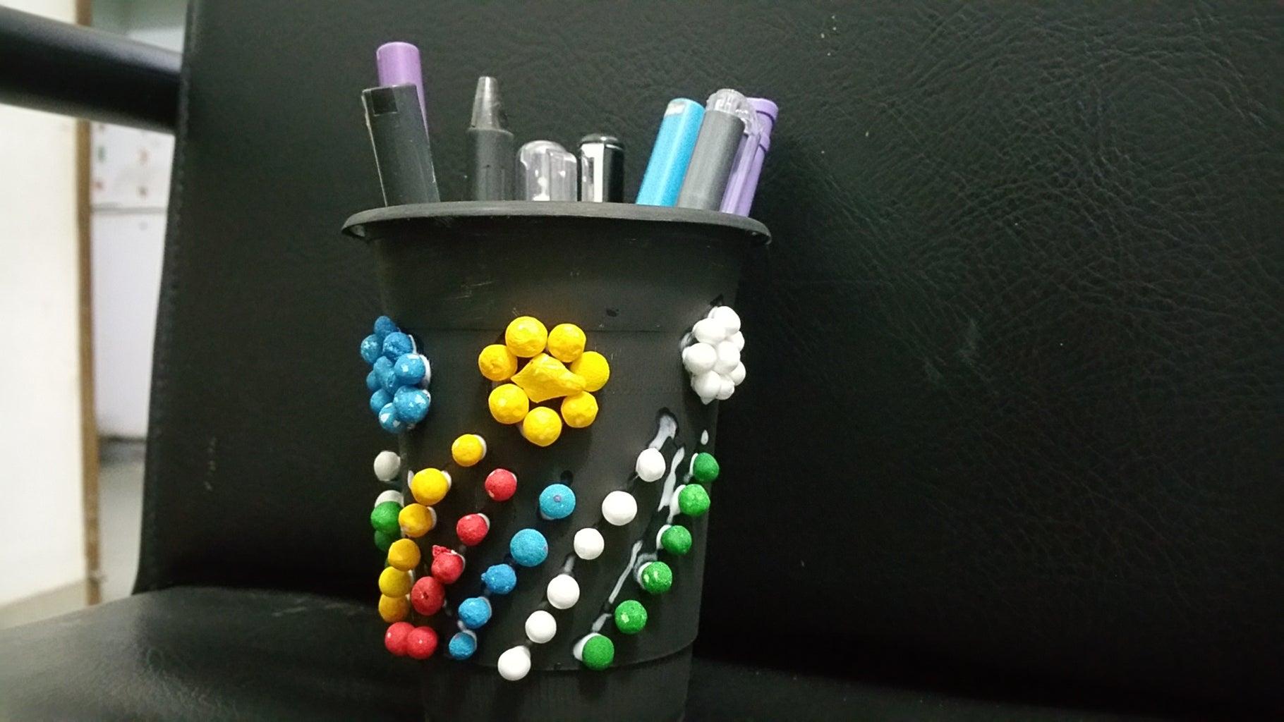 Pen Holder From a Old Crashers Bottle