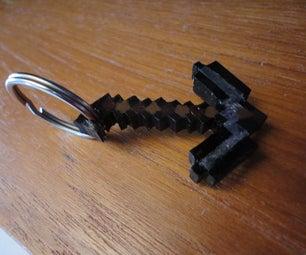 Minecraft Pickaxe Keychain