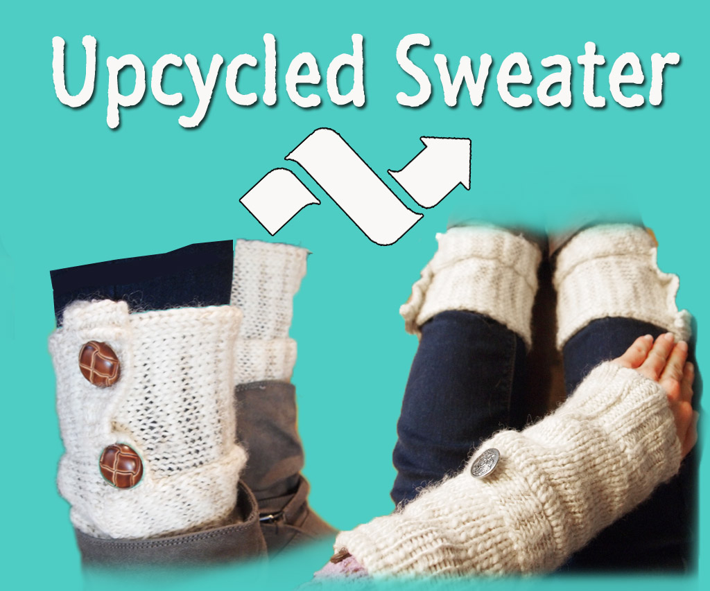 Upcycled Sweater - to Arm/Leg Warmers w/Phone Pocket