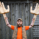 Building Giant Articulated Hands (carved From Wood for Social Distancing)