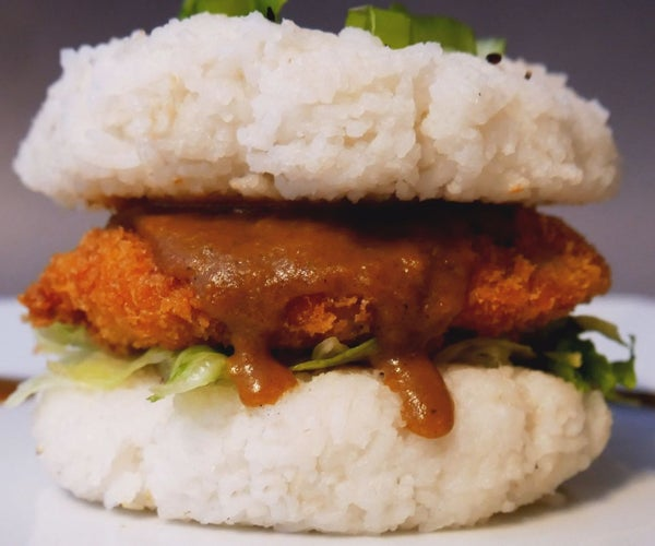Chicken Katsu Curry Rice Burger With Curry Fries
