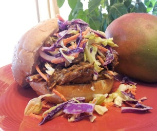 No Smoke Pulled Pork in Mango BBQ Sauce With Orange Flavored Cole Slaw