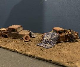 1/64 Scale Junkyard Diorama Using Tinfoil