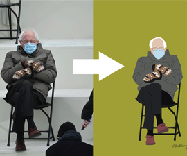 Flat Illustrations in Adobe Illustrator - Bernie Sanders Sitting With Mittens