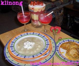 V for Valentine (Creamy Chicken, Creamy Potato Stew, Creamy Dessert, and Creamy Looking Drink)