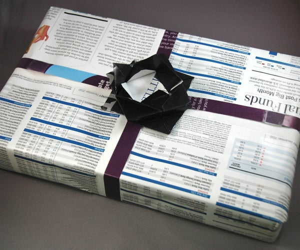 No-Cost Magazine Gift Wrap, Origami Box & Bow