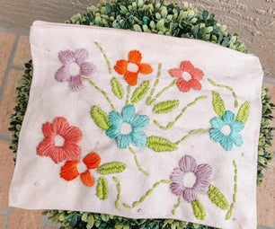 Embroidered Floral Canvas Pouch
