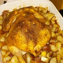 Oven Baked Whole Chicken with Red Potatoes