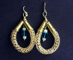 Viking Knit Beaded Earrings