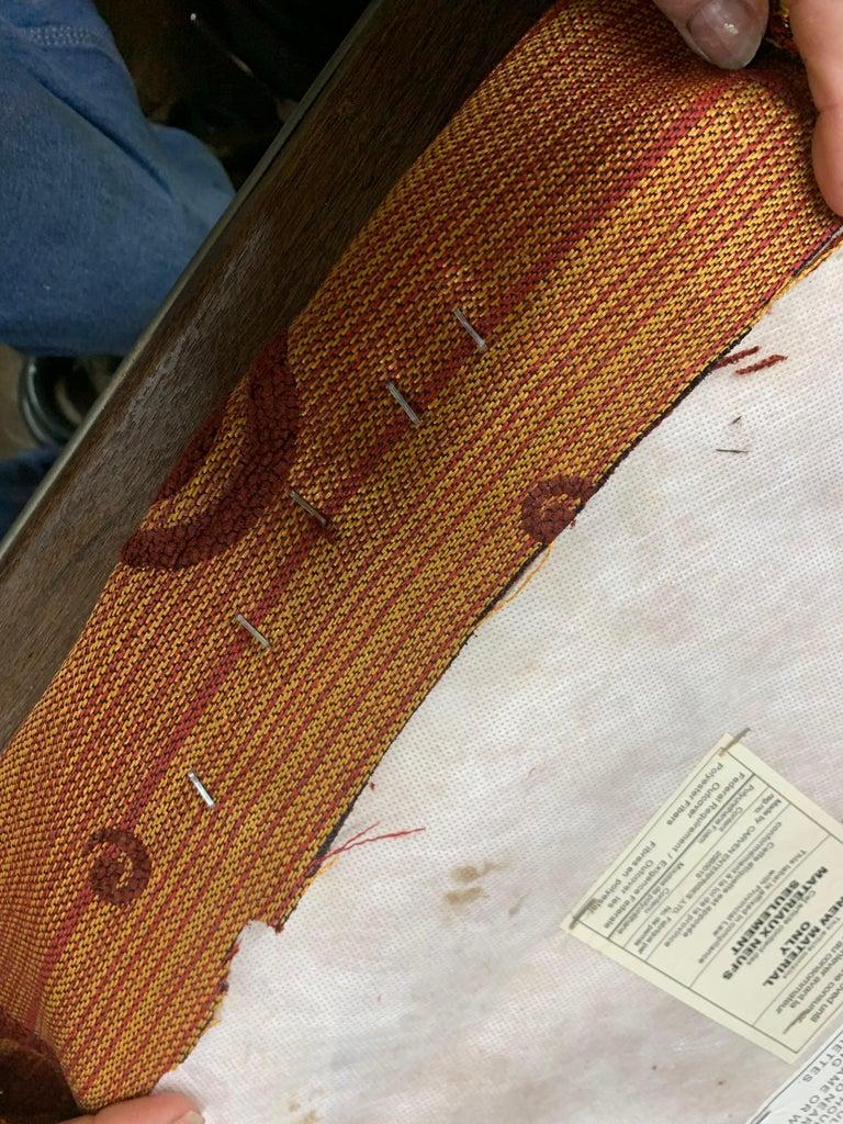 Stapling the Fabric Onto Cushion