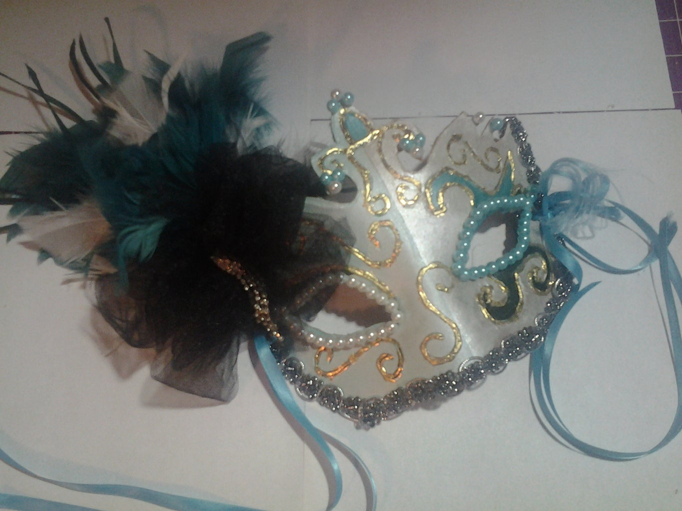 Terrific in Teal Masquerade Mask