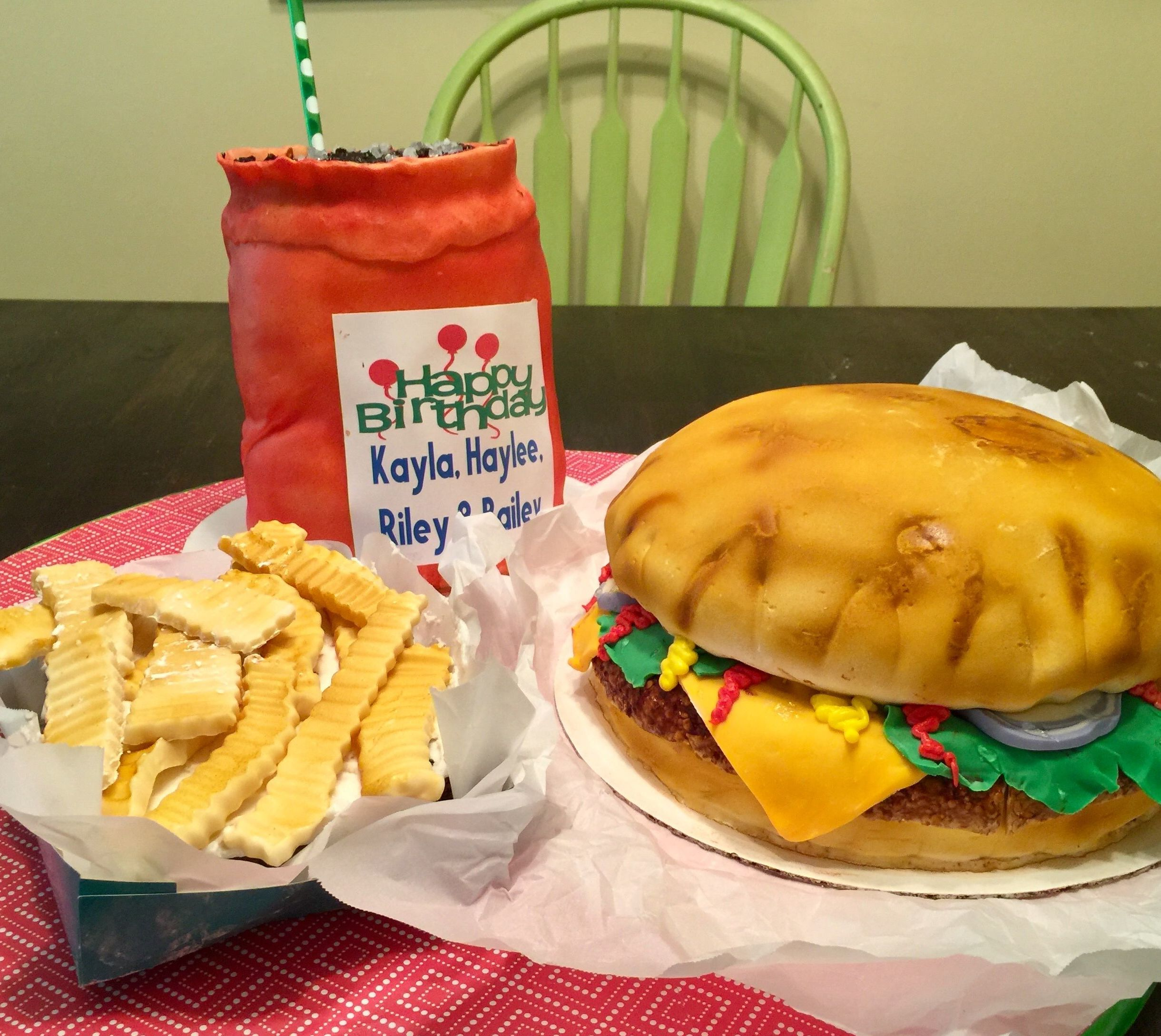 Cheeseburger Cake with Fries