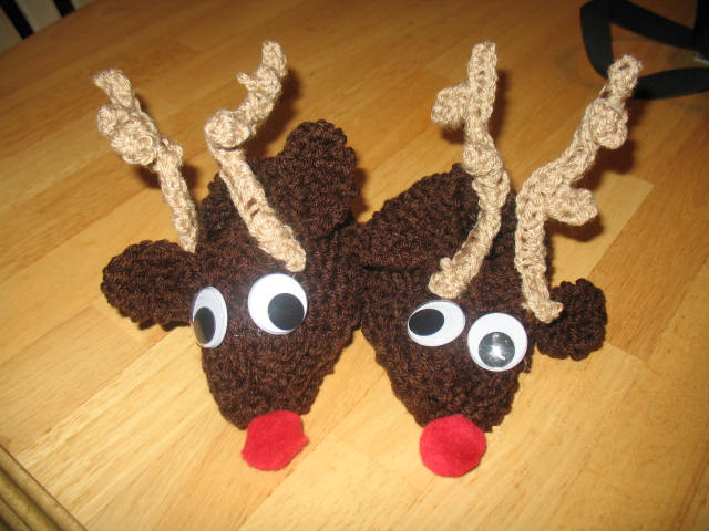 Red-Nose Reindeer Slippers