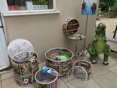 Super Hero Themed Children's Toy Storage Set UpCycled From a Drum Kit