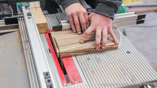 Cut Thin Slices of Scrap Material Using Miter or Table Saw
