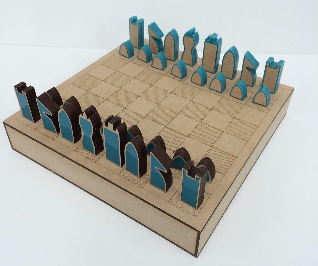Modern Laser Cut Chess Set