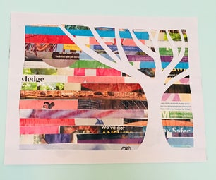Upcycled Magazine Wall Art   Tree Silhouette Art