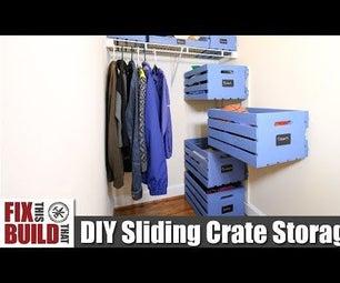 Sliding Wood Crate Storage