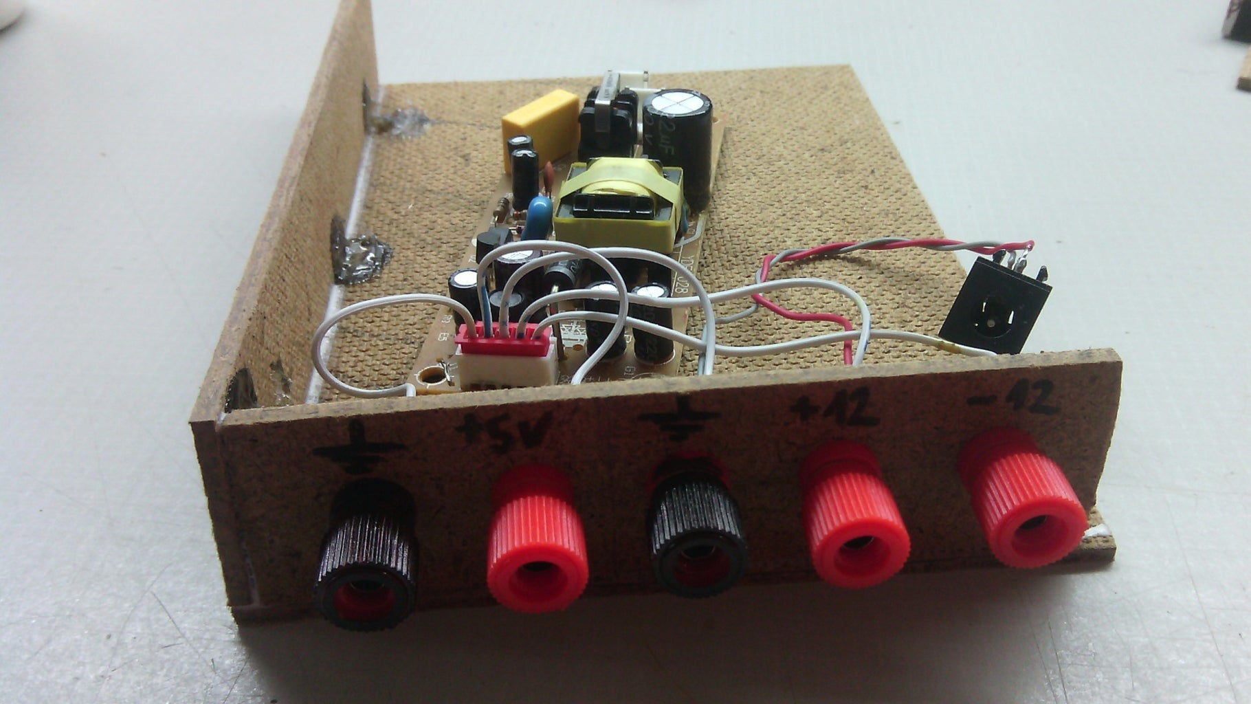 Putting Powersupply in Box and Soldering Wires