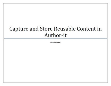 Capture and Store Reusable Content in Author-it