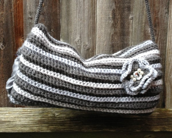 """""""50""""/Fifty Shades of """"Crocheted"""" Grey to Keep Your Hands Warm - Vintage Inspired Hand Muff / Warmer With Detachable Flower!"""
