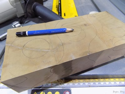 Step 2: Drill the Holes for the Tealights and Draw a Profile for Shaping.
