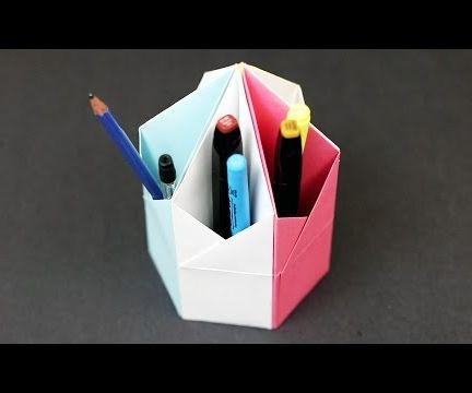 Origami Triangular Pencil Holder Desk Organizer Easy Paper Craft Tutorial!